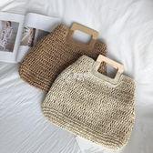 沙灘包 草編包木把手手提包大容量紙繩編織包手拎復古包度假包沙灘包女包 伊芙莎
