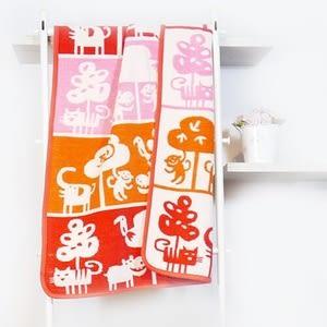 瑞典Klippan有機棉毯--可愛動物園(橘紅)