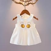 0-1-2-3歲女寶寶裙子夏季女童棉柔吊帶背心洋裝卡通蜜蜂棉布裙17