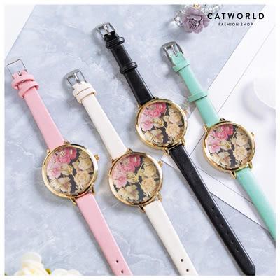 Catworld 復古花漾錶面皮質手錶【18002958】‧F