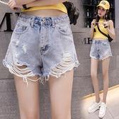 限時38折 韓國風時尚百搭氣質寬鬆破洞毛邊女學生牛仔單品短褲