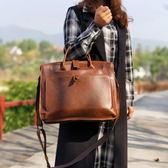 復古女包手提包公文包女電腦包公事包多夾層時尚側背斜背包皮文藝   LX  宜室家居