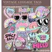 20枚原宿可愛行李箱貼紙 旅行箱貓貼畫 小清新二次元風格貼紙