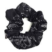 〔小禮堂〕Hello Kitty 緞面彈力髮圈《黑.坐姿》髮束.髮飾.大腸圈 4589932-60103