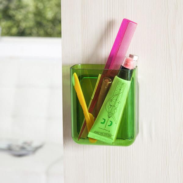 BO雜貨【SV6434】小款 3M強力粘膠壁掛式置物盒 免釘壁掛式儲物盒  筆筒 牙刷架 廚房 浴室 收納