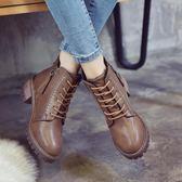 2019秋冬季新款韓版馬丁靴女靴子時尚百搭中跟粗跟短靴拉鍊機車靴