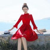 雙十二狂歡  秋裝新款女2018氣質蕾絲中長款復古紅色連身裙顯瘦修身禮服裙子