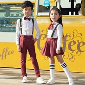 元旦男童女童朗誦表演背帶褲兒童禮服小學生幼兒園大合唱演出服裝 童趣屋