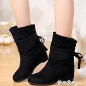 韓版平底坡跟短靴春秋絨面學生單靴內增高中筒流蘇靴棉靴女鞋 西城故事