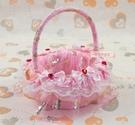 一定要幸福哦~~幸福花童籃(粉色)~喜糖籃、玫瑰花瓣、小花童