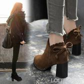 甜美蝴蝶結短靴女英倫風粗跟馬丁靴高跟女鞋秋季新款尖頭靴子 LOLITA
