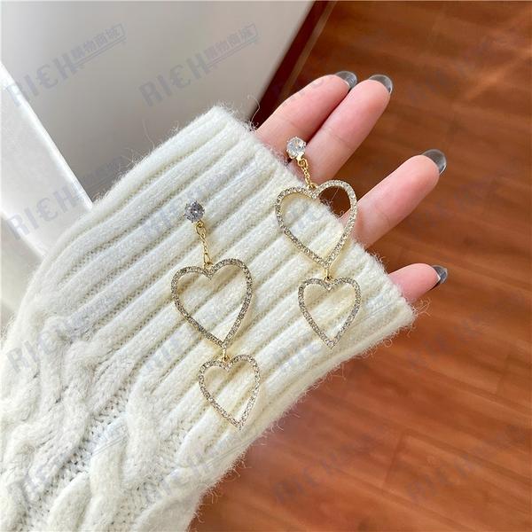 S925銀針網紅愛心耳環女韓國氣質長款滿鉆簡約桃心形耳釘耳夾