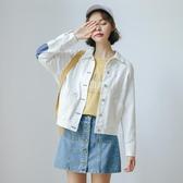 牛仔外套春秋季2019流行韓版寬鬆復古小清新白色工裝短夾克女裝潮