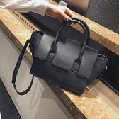 韓版時尚手提包百搭簡約休閒大包包斜挎側背包女包【非凡上品】h449