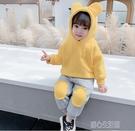 女童套裝女童洋氣套裝新款冬裝加厚韓版女孩加絨衛衣時髦寶寶兩件套 快速出貨