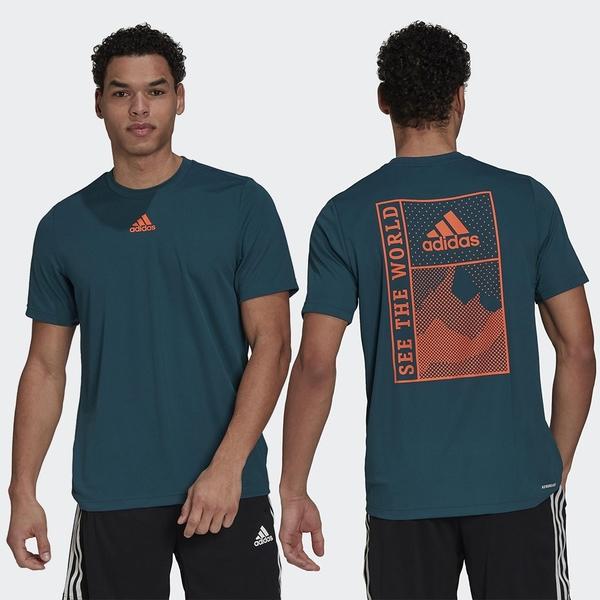 Adidas SPORTPHORIA AEROREADY 男裝 短袖 吸濕排汗 圖騰 綠【運動世界】GM5614