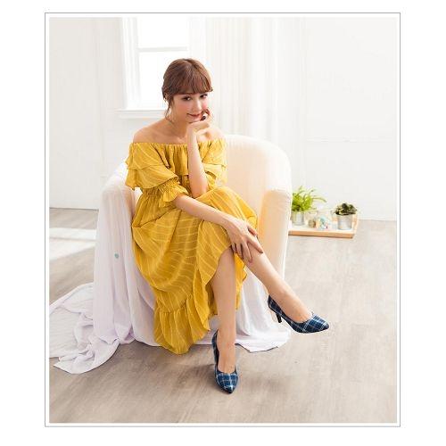 【ORiental TRaffic】簡約百搭尖楦高跟鞋-格紋藍