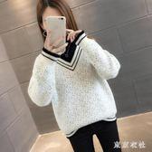 水貂絨加厚套頭毛衣寬鬆假兩件半高領圓點毛衣打底針織衫 QQ18389『東京衣社』