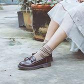 伯爵貓真皮ins小皮鞋女軟妹單鞋日系JK制服鞋平底復古學院樂福鞋