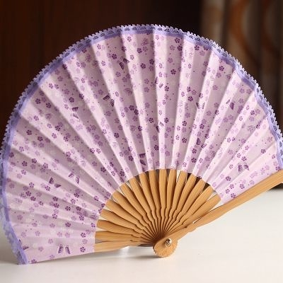 扇子 蕾絲邊 紫色蝴蝶
