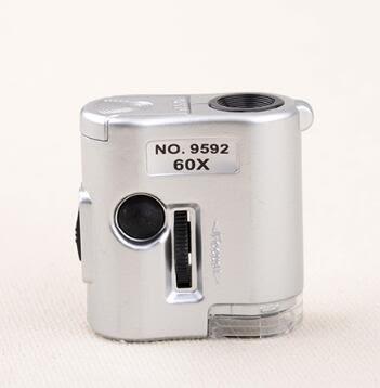 迷妳60倍古玩珠寶鑒定放大鏡便攜式帶燈驗鈔印刷高清60倍顯微鏡