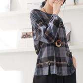 【慢。生活】格紋口袋拼接棉麻上衣-F 20235 FREE藍色