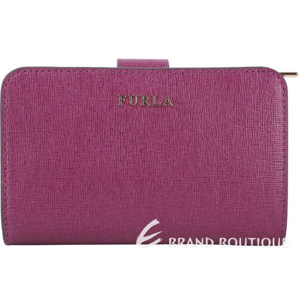 FURLA Babylon 金字防刮牛皮釦式中夾(紫紅色) 1740418-04