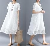 中大尺碼蕾絲洋裝 2020好質量夏季新款韓版 寬鬆大碼女裝蕾絲簡約百搭短袖連身裙