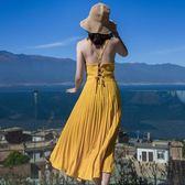 洋裝—巴厘島沙灘裙新款海邊度假露背壓褶吊帶裙中長款抹胸連身裙百褶裙 依夏嚴選