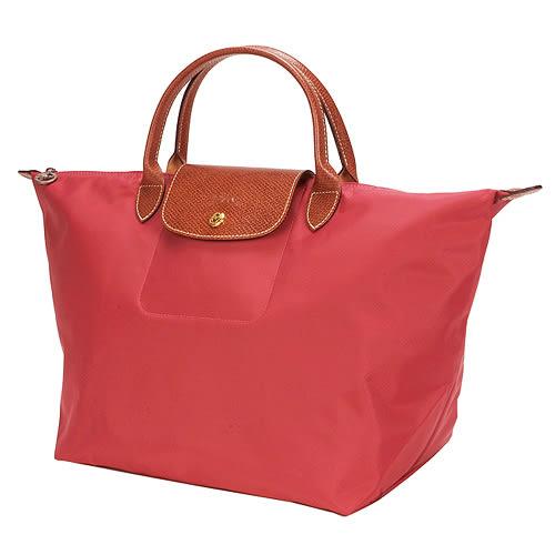 LONGCHAMP經典短提把中型尼龍摺疊水餃包(紅色-含帕巾)480101-13