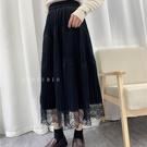 半身裙 新款年長裙百褶裙純色拼接蕾絲半身裙 【618特惠】