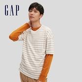 Gap男裝 純棉基本款圓領短袖T恤 683962-駝色條紋