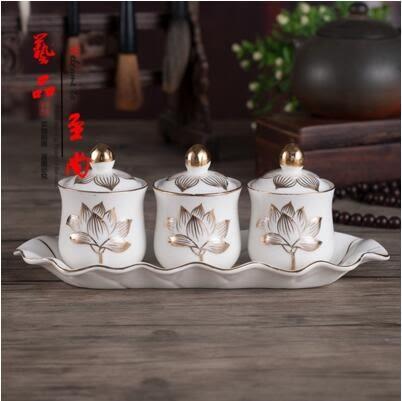 四供五供 佛具用品 蓮花三連杯 浮雕 陶瓷
