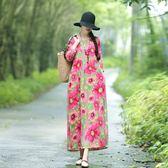 早秋新款民族風女裝長袖連身裙文藝復古高腰寬鬆顯瘦棉麻長裙 亞斯藍