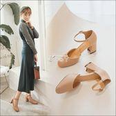 新款韓版女鞋粗跟高跟鞋中空一字扣帶百搭單鞋中跟工作鞋 俏腳丫
