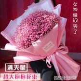 超大粉色藍色滿天星干花花束520閨蜜生日畢業母親節禮物ins拍照 igo