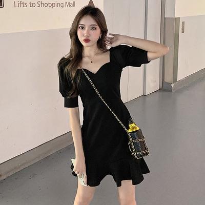 洋裝大碼連身裙方領荷葉邊裙性感修身顯瘦收腰連身裙女1F-149 胖妹大碼女裝