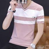 男士T恤短袖V領夏季V字領上衣服夏天男裝打底衫純棉體恤桖潮『韓女王』