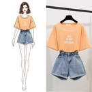 套裝 小清新時尚兩件套裝夏季網紅學生短袖T恤配牛仔闊腿短褲俏皮熱褲