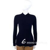 SPORTMAX 深藍色條紋針織下襬抓褶上衣 1330172-34