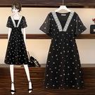 XL-5XL胖妹妹大碼洋裝連身~胖mm大碼女裝200斤印花雪紡寬松中長款短袖連身裙2F085A莎菲娜