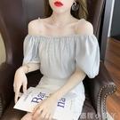 設計水晶吊帶兩穿小衫2021夏新款氣質甜美泡泡袖露肩一字領上衣女 蘿莉新品
