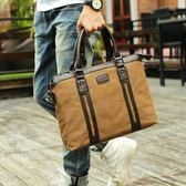 男包帆布包單肩斜跨包商務手提包公文包休閒包英倫復古包潮電腦包 范思蓮恩