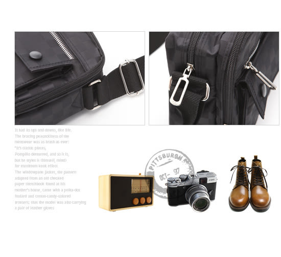 DF BAGSCHOOL - 暗黑對決棋盤紋雙口袋式側肩包-大
