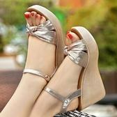 楔型鞋夏高跟坡跟涼鞋女舒適防水臺鬆糕厚底小碼32碼33碼增高女涼鞋 韓國時尚週