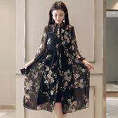 連身裙兩件套裝大碼女裝中長款雪紡開襟