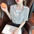 短袖襯衫 女2021新款法式洋氣薄款小衫假兩件別致設計感上衣小眾夏【快速出貨】