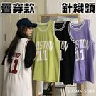 EASON SHOP(GW6536)實拍撞色針織領字母數字印花長版OVERSIZE無袖籃球背心裙連身裙女上衣服寬鬆棉