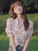 泡泡袖碎花襯衫短袖女設計感港風刺繡印花復古雪紡衫夏季翻領上衣