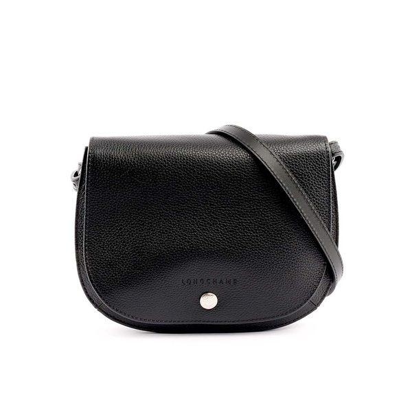 【LONGCHAMP】LE FOULONNE牛皮荔枝紋斜背包(黑色) 1322021047